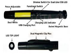 2-IN-1 LED FOCUS ADJUSTABLE FLASHLIGHT / COB WORKLIGHT