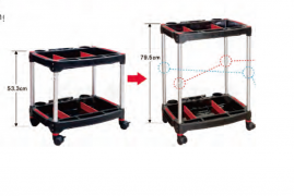 2-TIERS HEIGHT -ADJUSTABLE TOOL CART